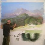 Peint sur toile en atelier.              La Brugayrie