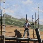 Démontage et découverte de la peinture murale. Lanuéjols