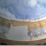 Plafond d'une salle à manger dans un hôtel particulier du 6ème arrdt à Paris Anamorphose de balustrade circulaire, création de Dominique Antony