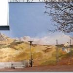 Peinture panoramique de 40 m de long. Gentilly. Vers la droite, à demie masquée derrière un arbre...