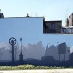 Dépôt de bus à Paris 18 ème arrdt. Fragment d'une peinture murale de 1300 m 2