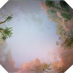 Ciel peint sur toile pour le plafond d'une salle à manger d'une résidence en Arabie Saoudite.