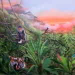 Jungle. peinture murale pour un escalier. Particulier.