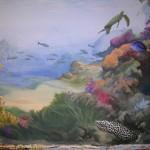 Murène tachetée. fragment d'une peinture murale panoramique dans une salle de bains privée.