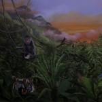 Jungle - Peinture murale dans un escalier - Privé
