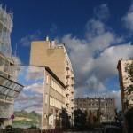 Nuages, mur, peinture, nuages, ciel