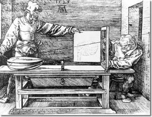 Dispositif pour dessiner en perspective, Albrecht Dürer. 1525