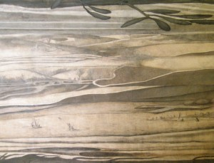 Paysages superposés. En bas, Saint François de Paule au milieu des bateaux marche sur les eaux du détroit de Messine, porté par son manteau.