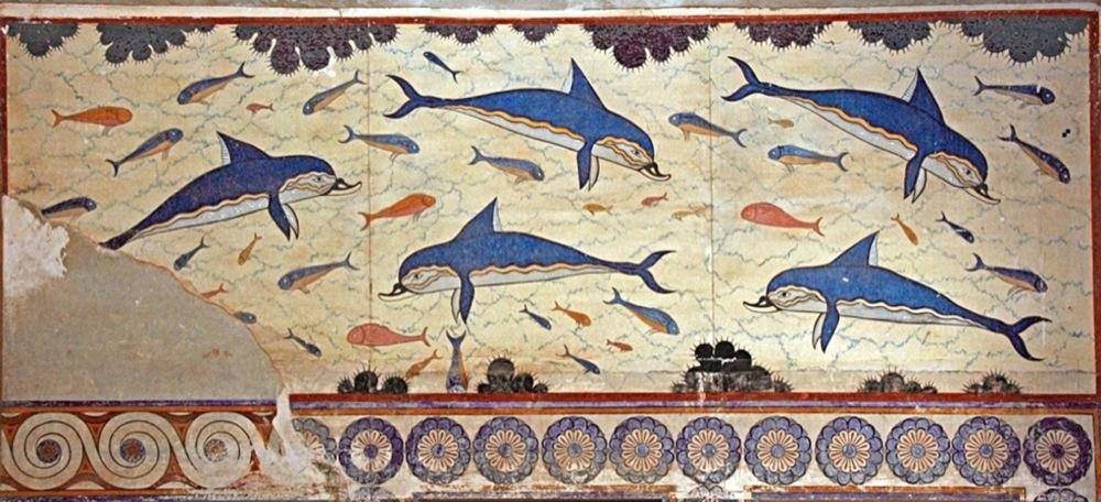 Fresque des dauphins. Knossos, Crète